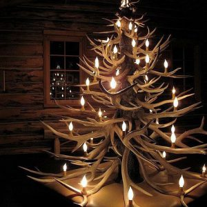 lighted tree made out of antlers